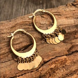 Gold Plated Hoop Earrings with Disc Dangles